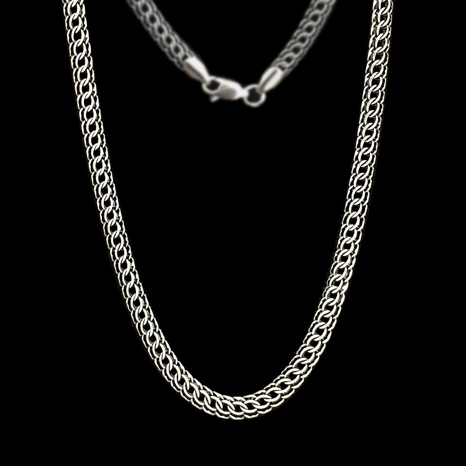 Срібний ланцюжок, 550мм, 26 грамів, плетіння Пітон, чорніння