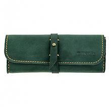 Кожаный футляр для очков Valenta  Зеленый (о81112t)