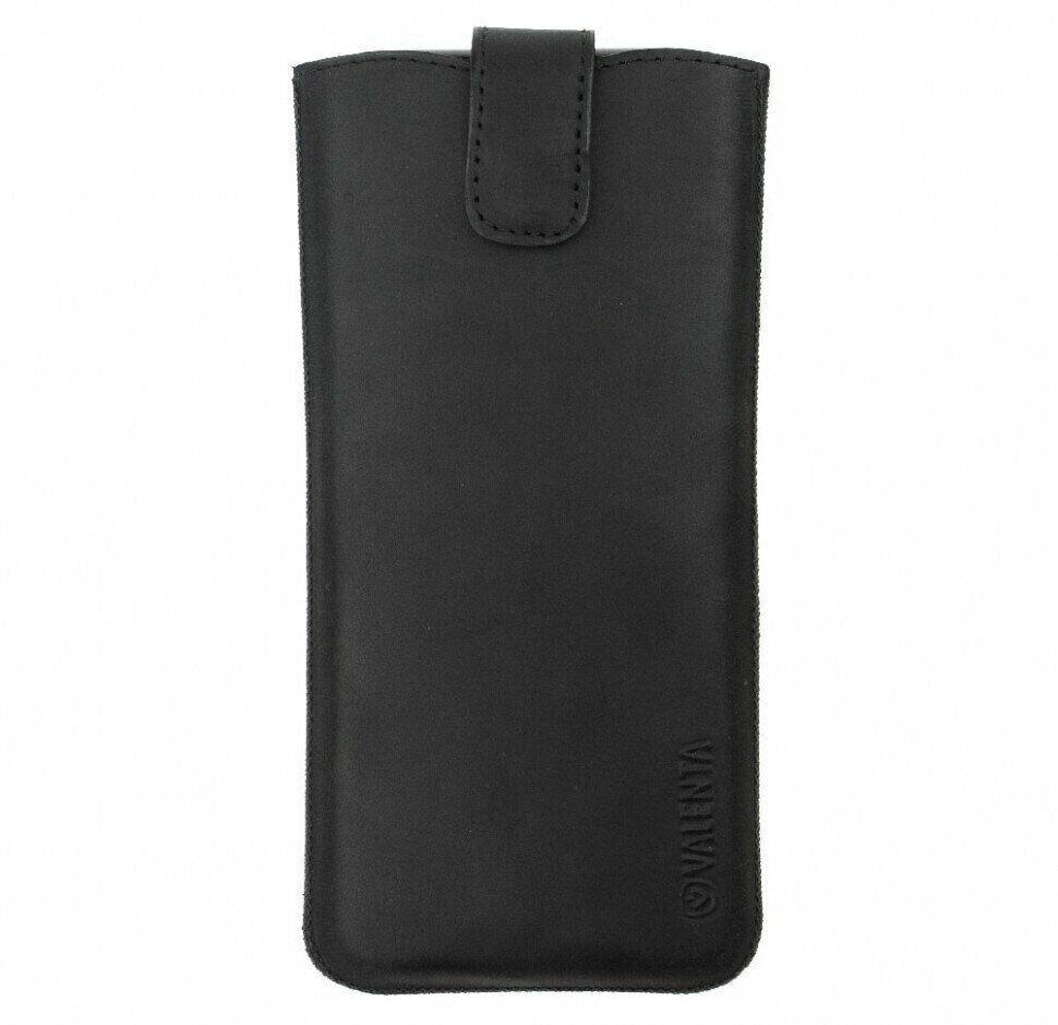 Шкіряний чохол для телефонів Valenta до 163 х 75 х 9 мм Чорний (C1009112Note8t)