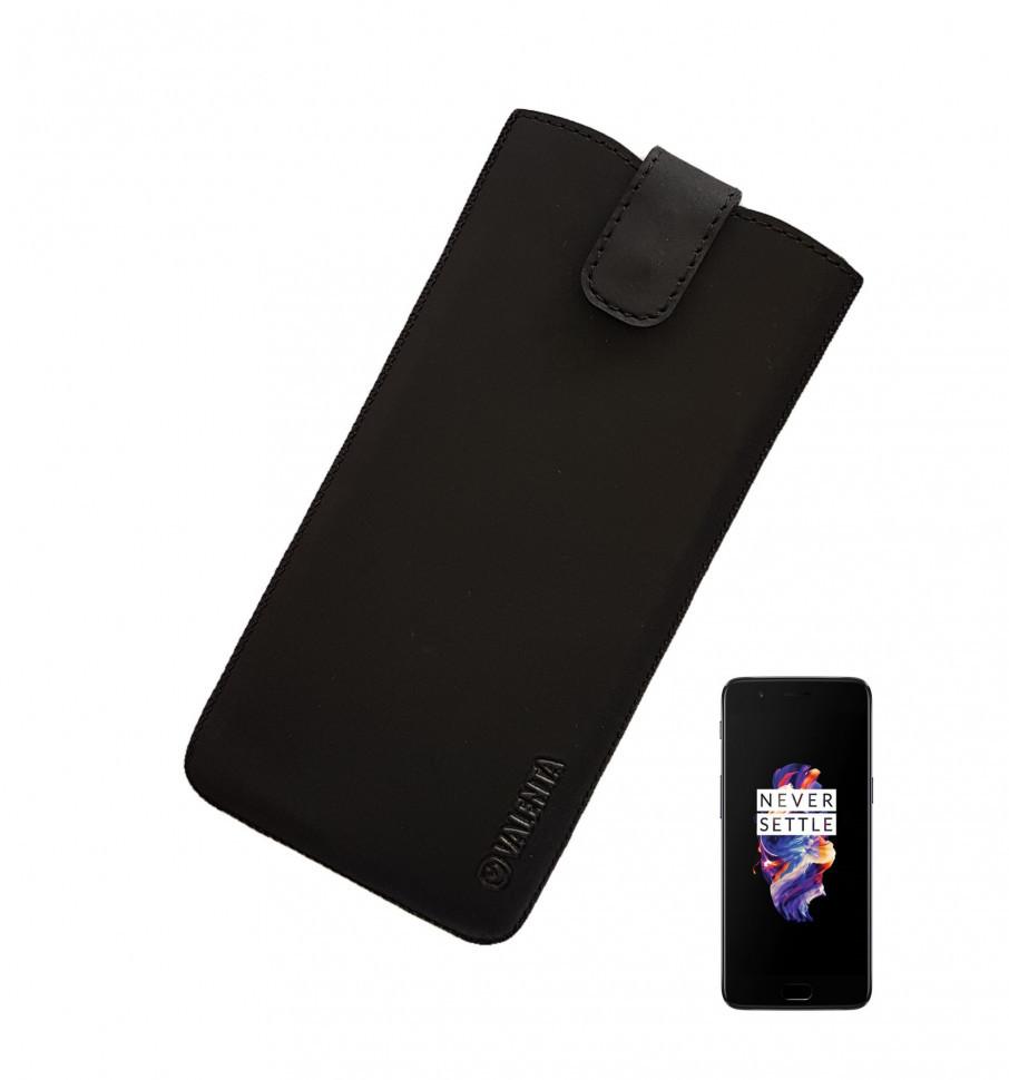 Кожаный чехол-карман Valenta для One Plus 5/5T Черный (C100911IP7pop5t)