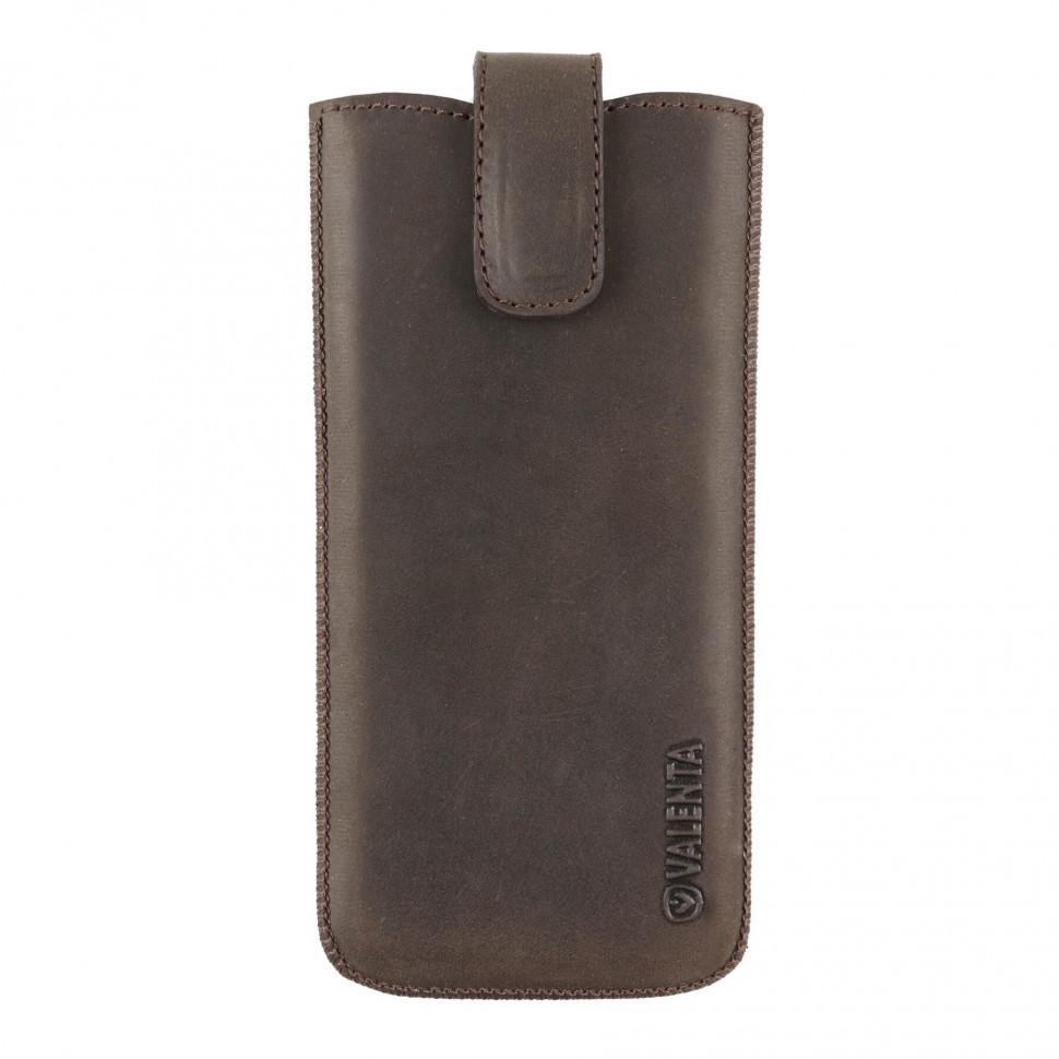 Шкіряний чохол-кишеня для телефонів Valenta до 144х73х8,5 мм. Коричневий (100982sg5t)