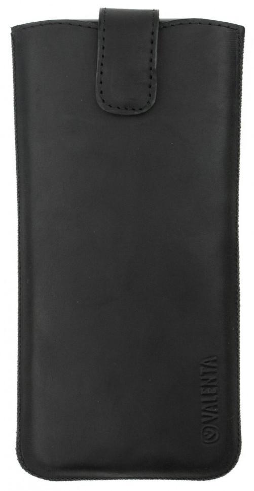 Кожаный чехол Valenta для телефонов до 144х73х8,5 мм. Черный (100911sg5t)