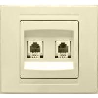 Компьютерная розетка двойная Gunsan Moderna кремовая (01 29 12 00 100 131)