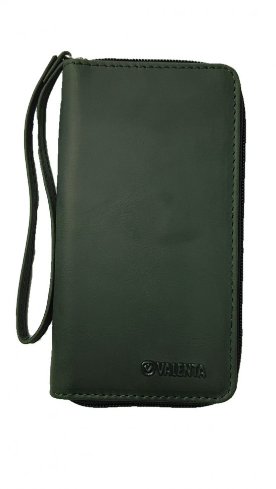 Кожаный футляр на молнии Valenta 1317XL Зеленый