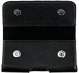 Шкіряний чохол на пояс для телефонів (153х77х12 мм.) Valenta 570XL Чорний, фото 3