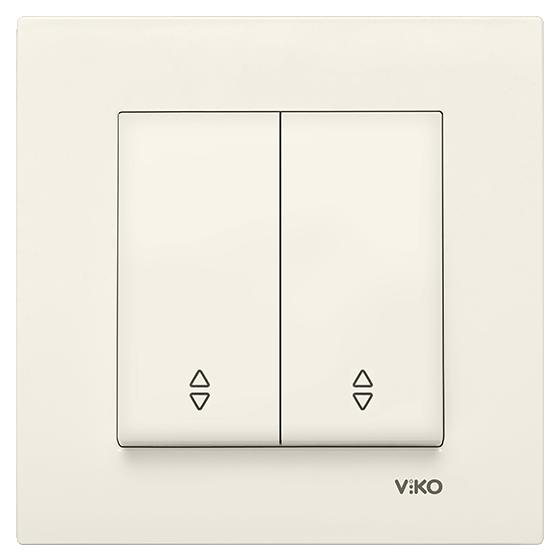 Выключатель проходной  2-х клавишный Viko Karre кремовый (90960117)