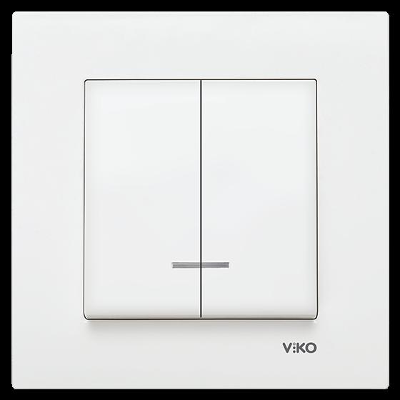 Выключатель с подсветкой 2-ух клавишный Viko Karre белый (90960050)