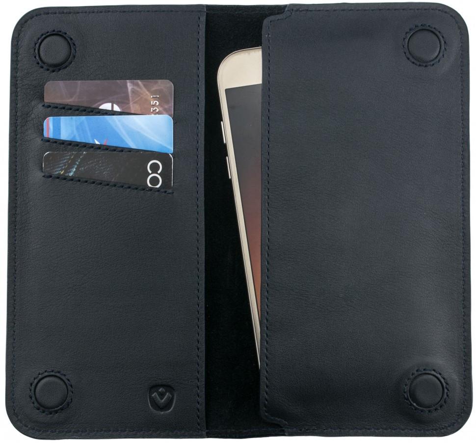 """Чохол-гаманець Valenta з відділом для телефону 5"""" Темно-синій (C1283P)"""