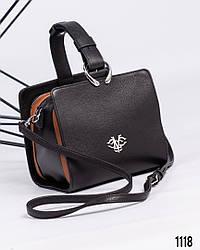 Женская черная каркасная сумочка натуральная кожа