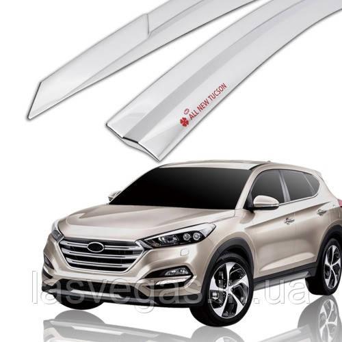 Дефлекторы окон, ветровики хромированные Hyundai Tucson 2015-2020 (Autoclover D623)