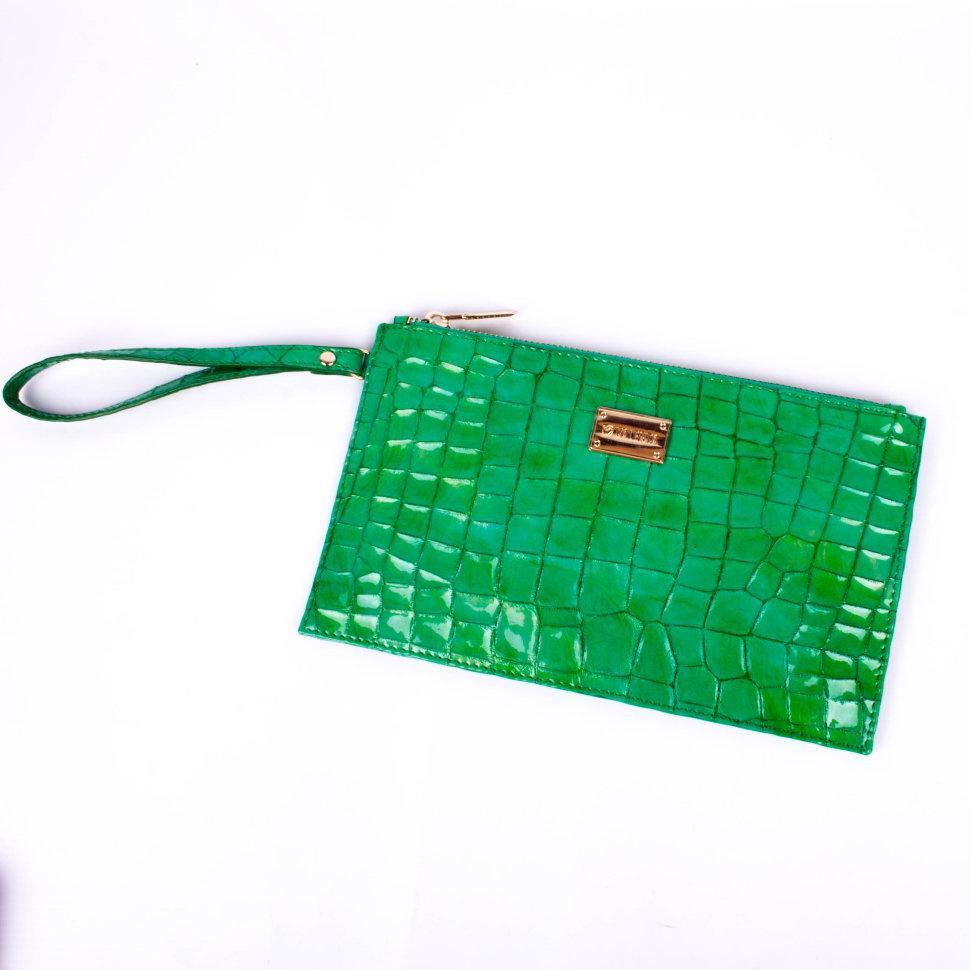 Клатч женский Valenta кожаный Зеленый (КЕ4489)