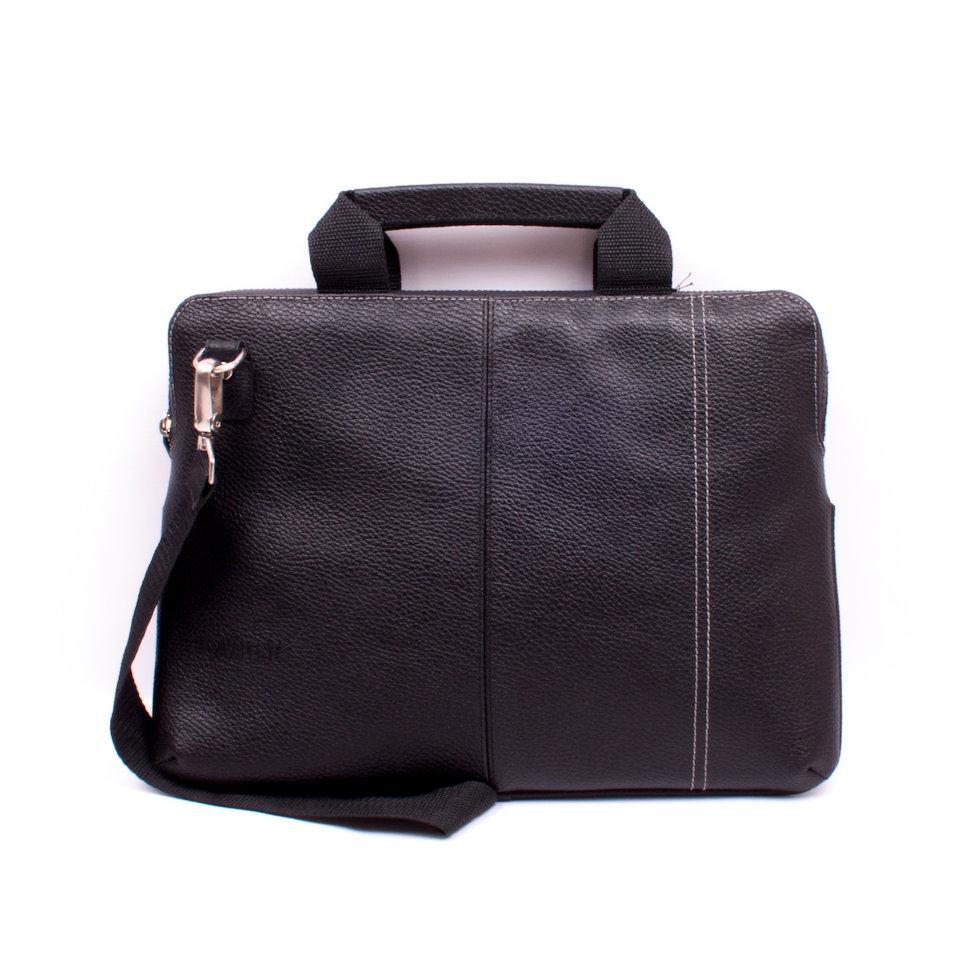 Сумка для ноутбука 13 дюймів Valenta шкіряна Чорна (ВХ2381381)