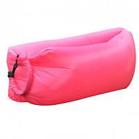 Ламзак надувной лежак, шезлонг, диван, мешок, матрас Двухслойный розовый (S-005052)