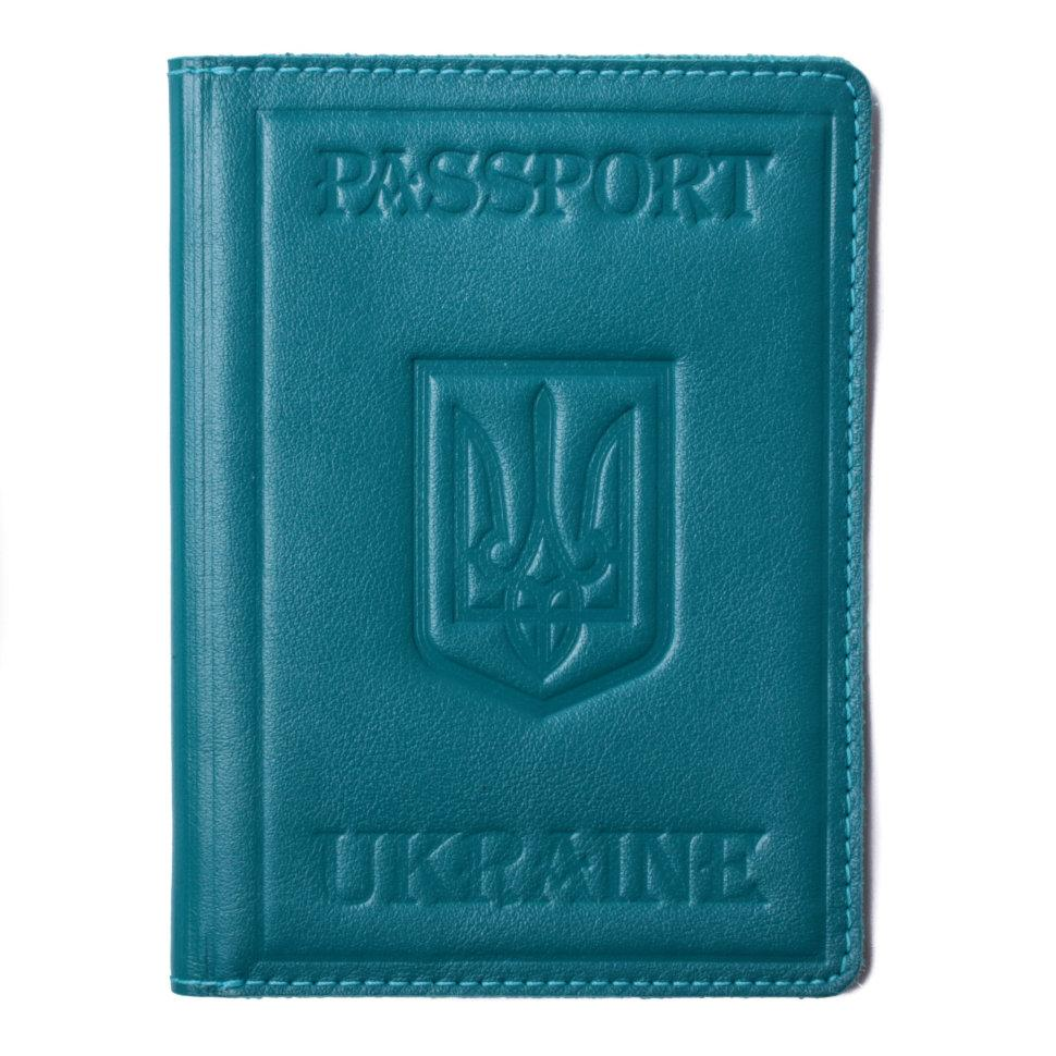 Обкладинка на паспорт Valenta шкіряна Бірюзова (ОУ152122)