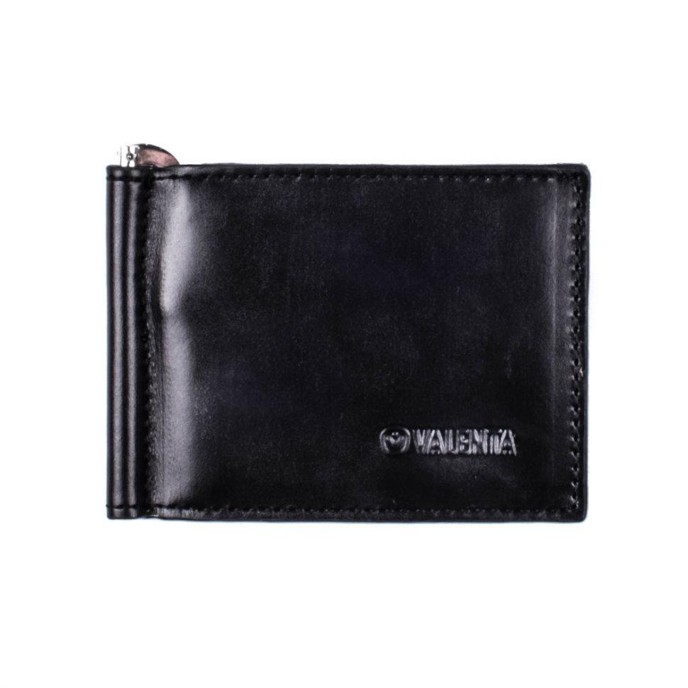 Зажим для купюр мужской Valenta кожаный Черный (СМ36541)