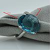 Серебряное кольцо размер 16.5 вставка лазурные фианиты вес 4 г, фото 2