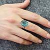Серебряное кольцо размер 16.5 вставка лазурные фианиты вес 4 г, фото 3