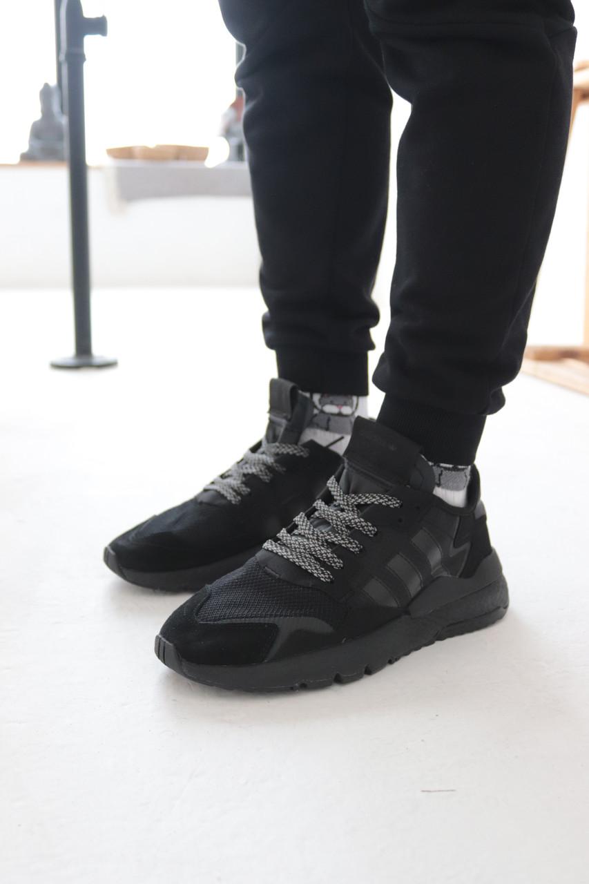 Кроссовки Adidas Nite Jogger Black Адидас Найт Джоггер Чёрные (41,42,43,44,45)