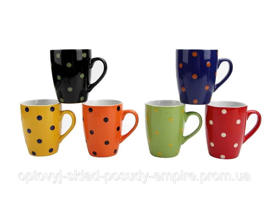 Чашка керамическая цветная Interos Горох MIX 340 мл KW 137