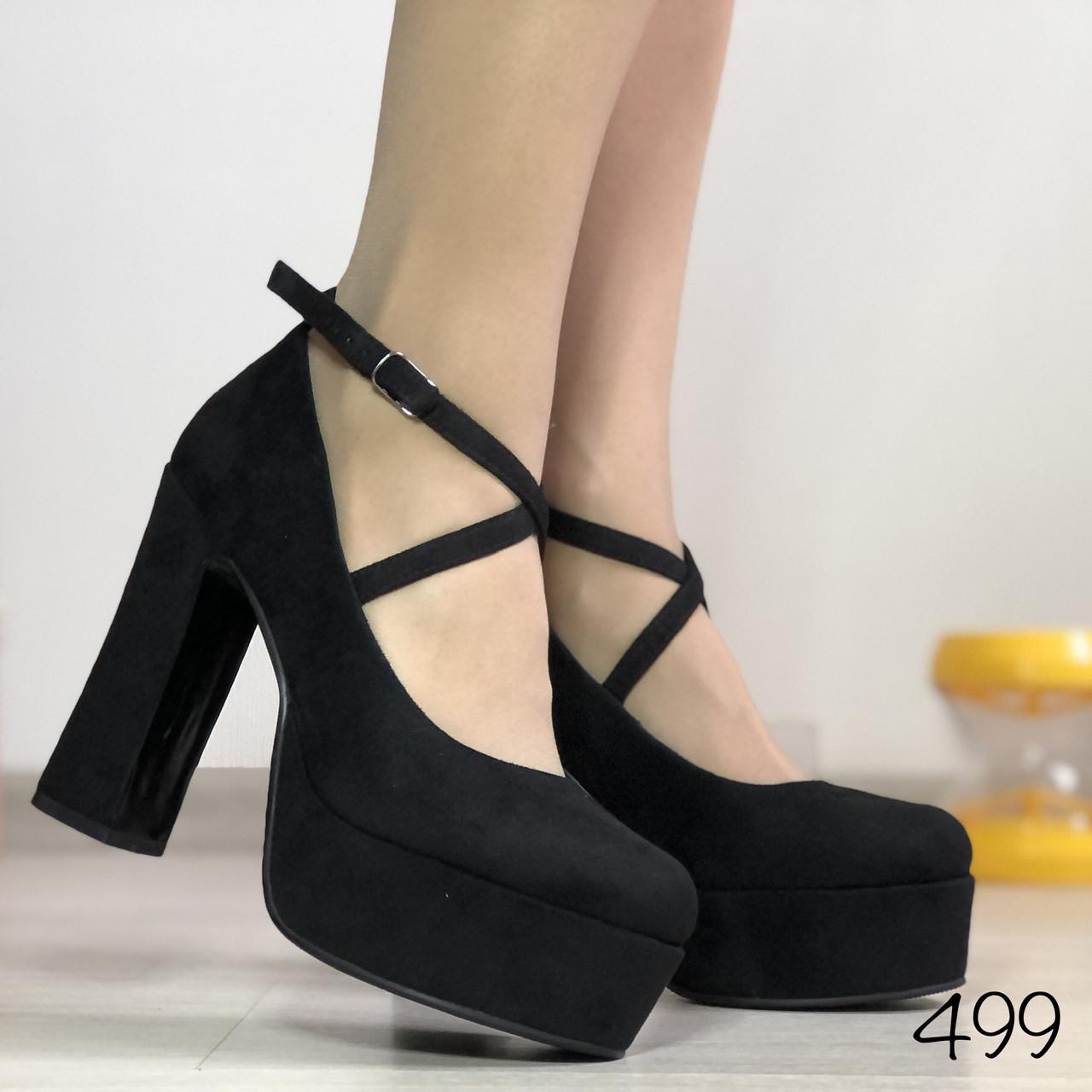 Женские туфли на широком каблуке и стрипе, черная замша