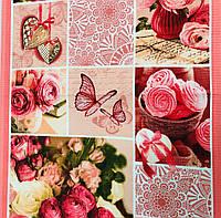 Вафельне полотно Квіти 50 см