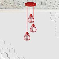 Подвесная люстра на 3-лампы FANTASY-3G E27 на круглой основе, красный, фото 1