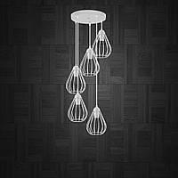Підвісна люстра на 5 ламп FANTASY-5G E27 на круглій основі, білий, фото 1