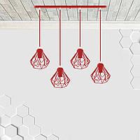 Подвесная люстра на 4-лампы SKRAB-4 E27 красный, фото 1