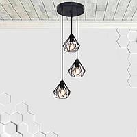 Подвесная люстра на 3-лампы SKRAB-3G E27 на круглой основе, чёрный, фото 1