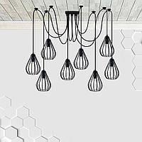 Підвісна люстра павук на 8-ламп FANTASY-8 E27 чорний 1,5 м., фото 1