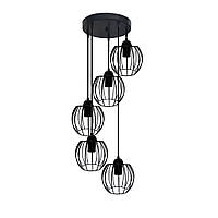 Подвесная люстра на 5-ламп BARREL-5G E27 на круглой основе, чёрный, фото 1