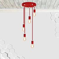 Потолочная люстра на 5-ламп CEILING-5G E27 круг, красный 1м., фото 1