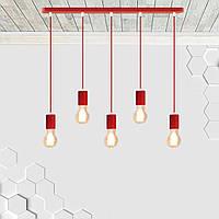 Подвесной светильник на 5-ламп CEILING-5 E27 красный, фото 1