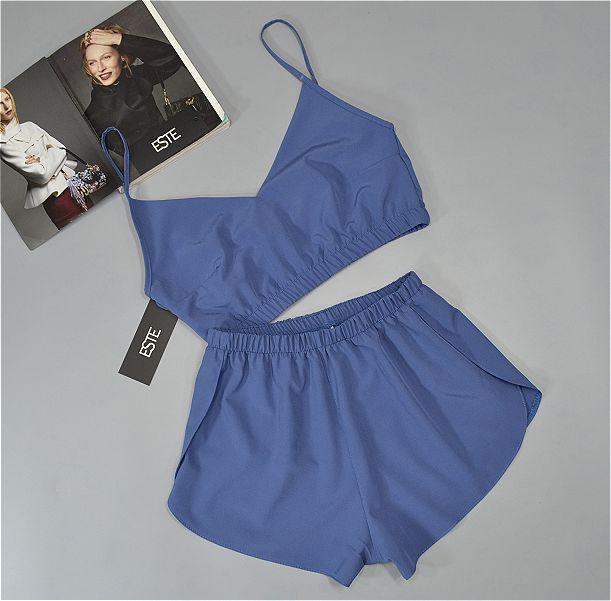 Пижама топик и шорты ТМ Este синяя.