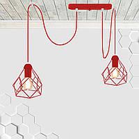 Подвесной светильник на 2-лампы RUBY/SP-2R E27 красный, фото 1