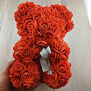 Мишка из искусственных 3D роз 25 см красный в подарочной коробке подарок на 8 марта маме девушке