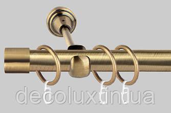 Карниз для штор металлический, однорядный 19 мм Заглушка Антик