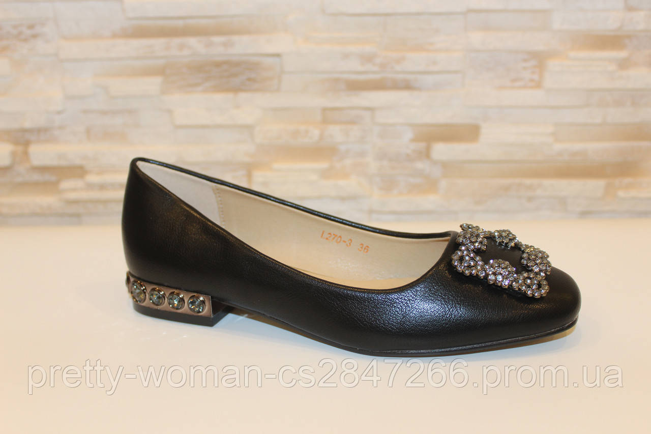Туфли балетки женские черные с пряжкой Т088