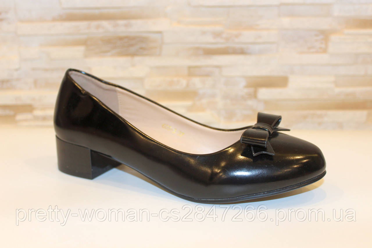 Туфли женские черные на удобном каблуке Т031