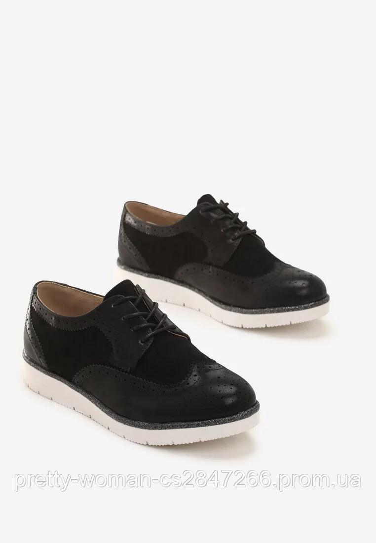 Туфлі жіночі чорні на шнурках Т067