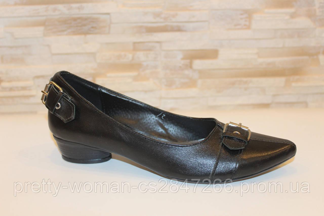 Туфли женские черные натуральная кожа Т138