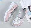 Туфли мокасины белые с розовым женские натуральная кожа Т1067, фото 2
