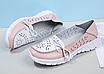Туфли мокасины белые с розовым женские натуральная кожа Т1067, фото 3