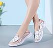 Туфлі мокасини білі з рожевим жіночі натуральна шкіра Т1067, фото 4