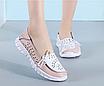 Туфлі мокасини білі з рожевим жіночі натуральна шкіра Т1067, фото 5