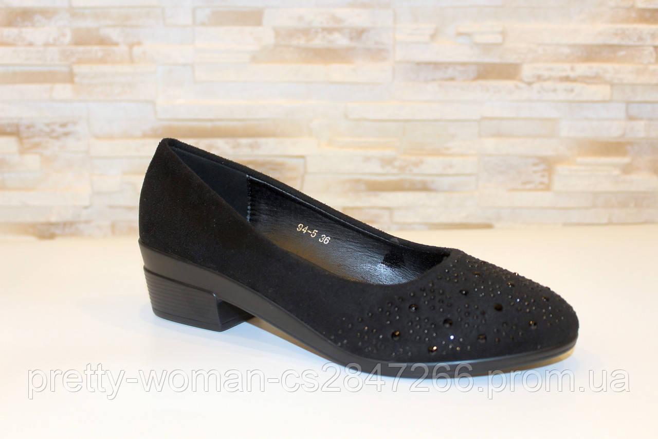 Туфлі жіночі чорні замшеві на невеликому каблуці Т027