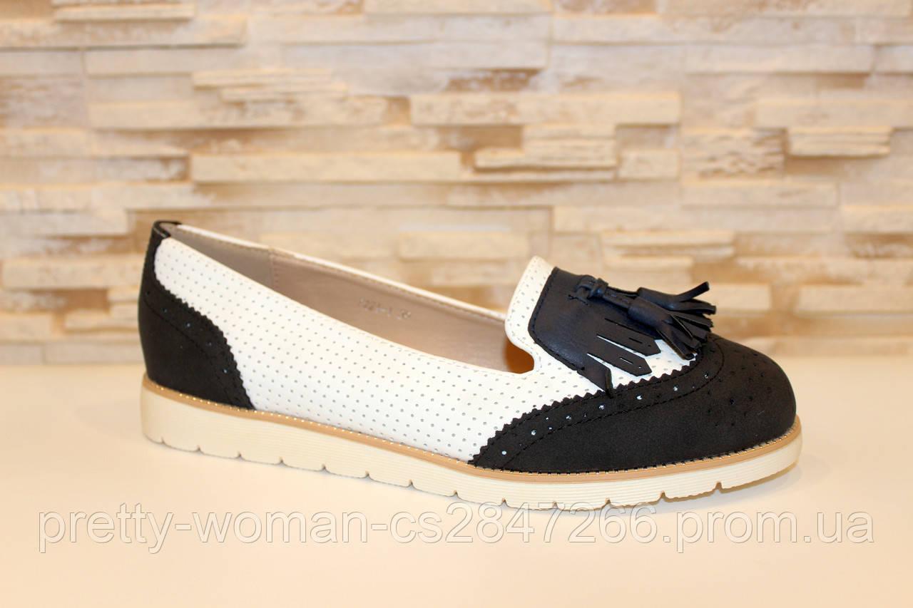 Туфли лоферы женские белые с черным Т1047