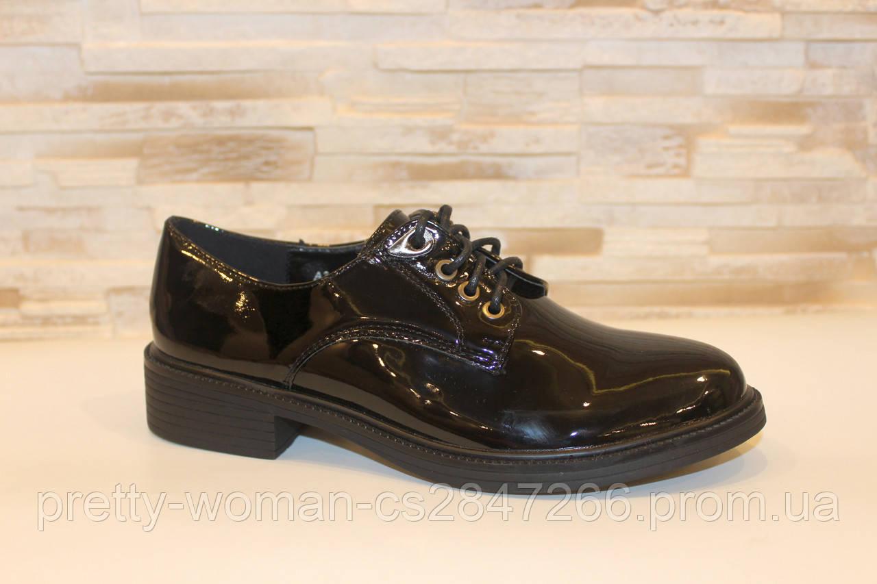 Туфлі жіночі чорні лакові на шнурівці Т1152