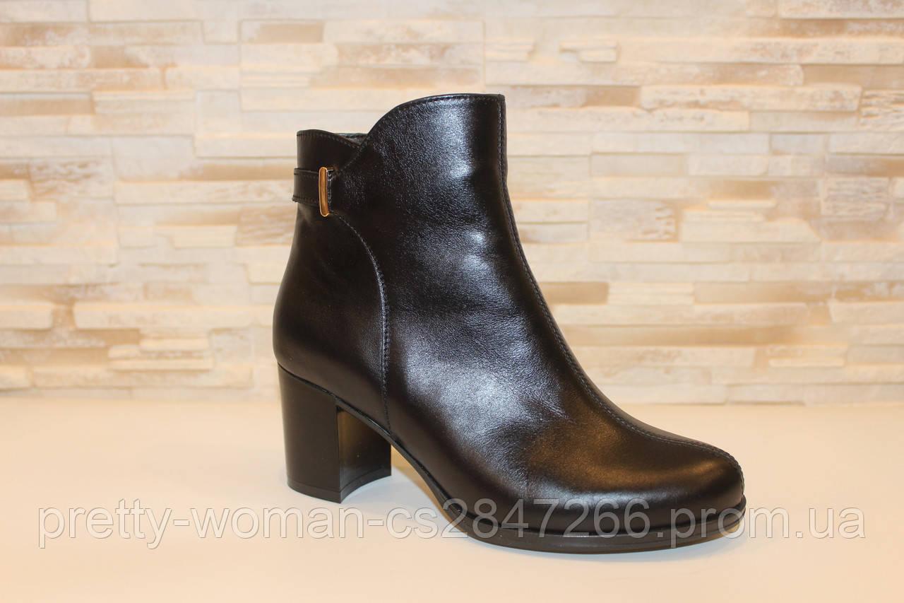 Ботильоны женские черные на устойчивом каблуке натуральная кожа Д646