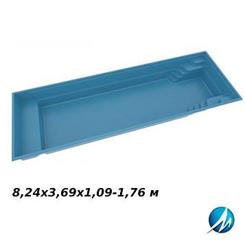 Стекловолоконная чаша X Trainer 82, 8,24х3,69х1,09-1,76 м